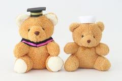 Två brunbjörndockor som bär ett avläggande av examenlock och en sjuksköterskahatt royaltyfri fotografi