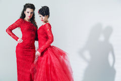 Två brunettflickvänner som bär röda klänningar Fotografering för Bildbyråer