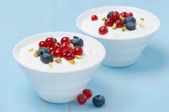 Två bunkar av ny söt yoghurt med bär och pistascher royaltyfria bilder