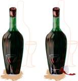 Två buteljerar av wine och exponeringsglas. Royaltyfria Bilder