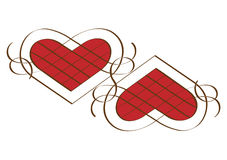 Två calligraphic hjärtor Arkivbild