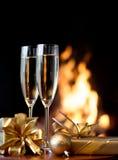 Två champagneexponeringsglas Royaltyfri Fotografi