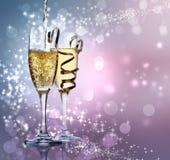 Två champagneexponeringsglas Arkivbild