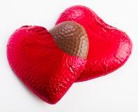 Två chokladhjärtor Arkivbilder
