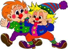 Två clowner Fotografering för Bildbyråer