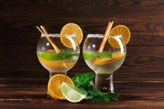 Två coctailar med rom och frukter Aptitretarefrukter och kryddig mintkaramell för en kall drink Coctailar på träbakgrunden Fotografering för Bildbyråer