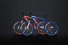Två cyklar på mörker Royaltyfria Bilder
