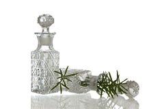 Två dekorativa glasflaskor med proppar royaltyfri bild