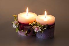 Två dekorativa stearinljus med bunden vinterfrukt Royaltyfria Foton