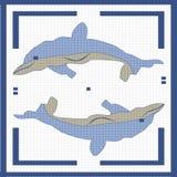 Två delfin i fyrkanten Arkivbild