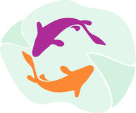 Två delfiner royaltyfri illustrationer