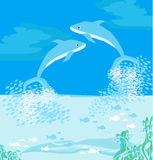 Två delfiner som hoppar ut ur, bevattnar vektor illustrationer