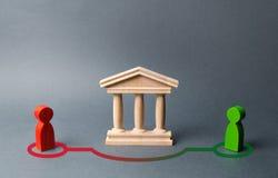 Två diagram av folkkontakt, i förbikoppling av den tillståndsbyggande eller banken Olagligt avtal, skattebrott Riskabel utlåning arkivfoton