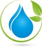 Två droppar och sida-, vatten- och wellnesslogo royaltyfri illustrationer
