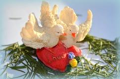 Två duvor på hjärtan Arkivbild