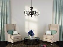 Två eleganta stolar och kaffetabell vektor illustrationer