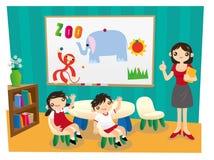 Två elever lyfter deras händer svarar upp till deras lärare i skola stock illustrationer