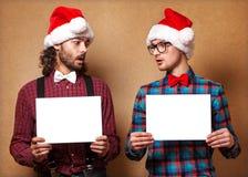 Två emotionella Santa Claus Royaltyfri Foto