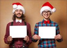 Två emotionella Santa Claus Royaltyfria Foton