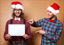 Två emotionella Santa Claus Arkivfoton