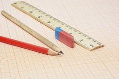 Två enkla blyertspennor, ett radergummi och en linjal på en millimeter skyler över brister arkivfoto