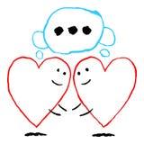 Två ensamma röda hjärtor mötte Roligt hälsa kort för feriefestmåltiden av helgonet Valentine Day Skissa teckningen drogs med stock illustrationer