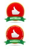 Två etiketter - garanti, bästsäljare Royaltyfri Bild