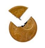 Två Euro-cent myntsnitt in i stycken Arkivbilder