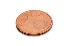Två eurocent mynt som isoleras på vit bakgrund Royaltyfri Bild