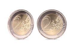 Två eurosmynt med skuggor Royaltyfri Fotografi