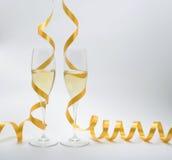 Två exponeringsglas av champagne Royaltyfria Foton