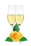 Två exponeringsglas av champagne och gulingrosen som isoleras på vit Arkivbild