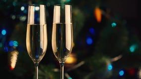 Två exponeringsglas av champagne på bakgrunden av julträdet Berömmen av jul och det nya året arkivfilmer