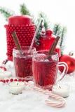 Två exponeringsglas av den funderade vin och stearinljuset med julpynt Fotografering för Bildbyråer