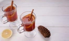 Två exponeringsglas av den glödheta drinken mulled wine Royaltyfria Bilder
