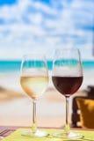 Två exponeringsglas av kyld vit och röda viner på tabellen nära stranden Arkivbilder