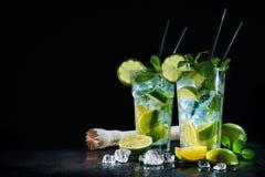 Två exponeringsglas av mojitococtailen med den nya limefrukt och mintkaramellen royaltyfria foton