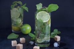 Två exponeringsglas av mojitococtailen med den nya limefrukt och mintkaramellen på en mörk bakgrund Kall citrus drink royaltyfri bild