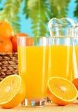 Två exponeringsglas av orange fruktsaft och frukter Arkivbild
