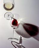 Två exponeringsglas av vitt vin och rött vin Arkivbild