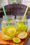 Två exponeringsglas för murarekrus av hemlagad lemonad med delen av citroner Fotografering för Bildbyråer
