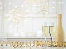 Två exponeringsglas med champagne och flaskan framförande 3d Arkivfoto