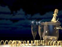 Två exponeringsglas med champagne och flaskan framförande 3d Fotografering för Bildbyråer