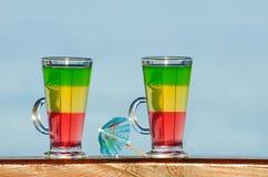 Två exponeringsglas med färgrika coctailar på bakgrunden av havet Arkivbild