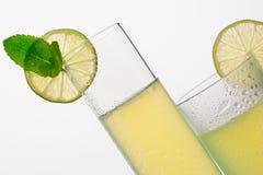 Två exponeringsglas med kall lemonad Royaltyfria Bilder
