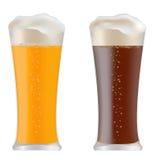 Två exponeringsglas med mörkt och ljust öl royaltyfri foto