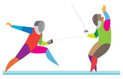 Två fäktare deltar i en spännande match vektor illustrationer