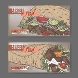 Två färglandskapbaner med donerkebab och shawarma vektor illustrationer