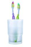 Två färgrika tandborstar i exponeringsglas Royaltyfria Bilder