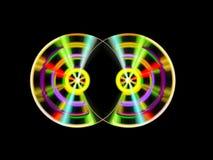 Två färgrika turnable discjockeydisketter stock illustrationer